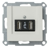 Schneider Electric System-M USB module 2-voudig wit