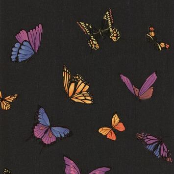 Vliesbehang Vlinder glitter zwart 31-174