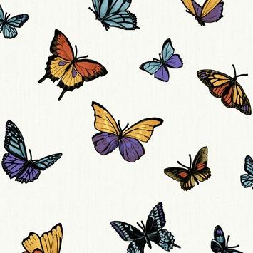Vliesbehang Vlinder glitter wit 31-175