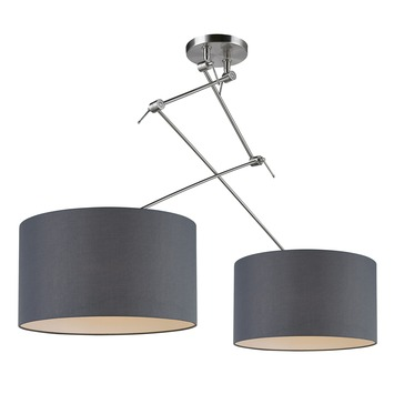 gamma hanglamp tirza 2 lampen e27 60w grijs kopen