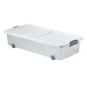 Opbergbox kunststof transparant/wit 80x34x17 cm