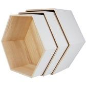 Wandkastjes wit set van 3 stuks