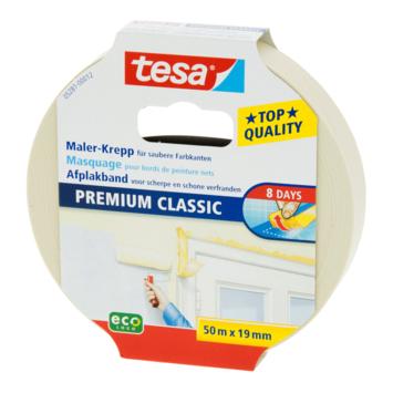 Tesa afplaktape Premium classic 19 mm 50 meter geel