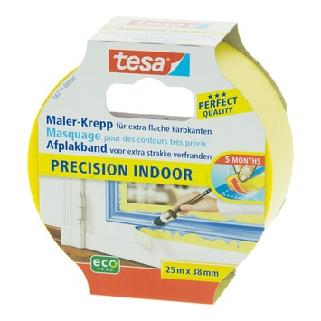 Tesa afplaktape precision indoor 38 mm 25 meter geel
