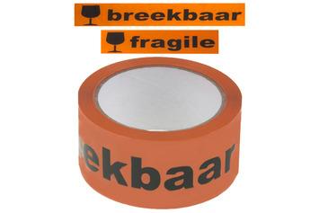 Waarschuwingstape breekbaar 66mx48mm oranje met zwart