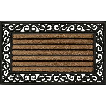 Stripe schraapmat kokos rubber naturel/zwart