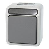 Merten opbouwschakelaar wissel/1-polig met verlichting grijs