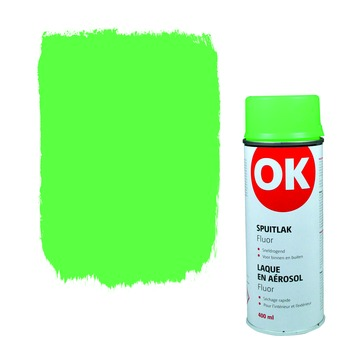 OK spuitlak groen fluor 400 ml