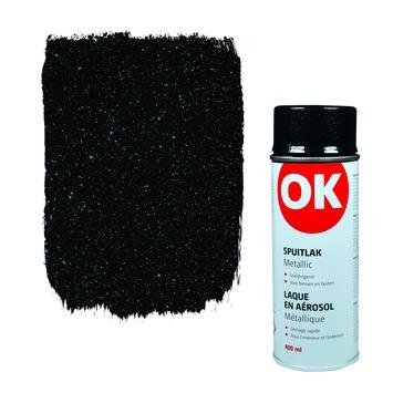 OK spuitlak zwart metallic 400 ml