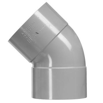 Martens bocht 45° PVC grijs 2x lijmverbinding 75x75 mm