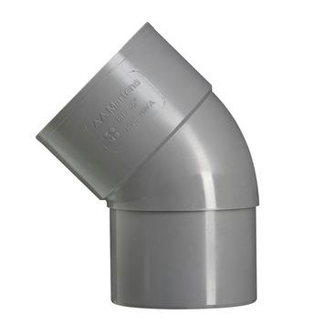 Martens bocht 45° PVC grijs mof/verjongd 70 mm