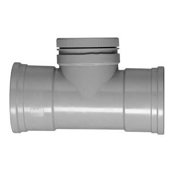 Martens ontstoppingsstuk PVC met schroefdeksel grijs 110x110 mm