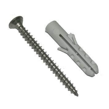 GAMMA plug 6 mm RVS met spaanplaatschroef 4x45 mm 12 stuks