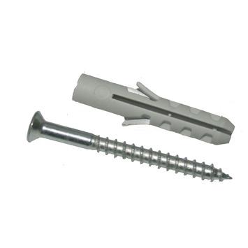GAMMA plug nylon 5 mm met houtschroef verzinkt 3,5x30 mm 20 stuks