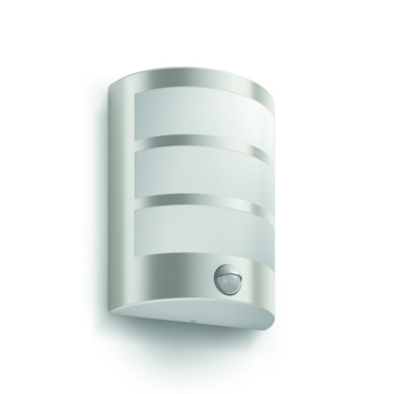 Philips wandlamp Python met bewegingsmelder met geïntegreerde LED 6W 600 lumen inox
