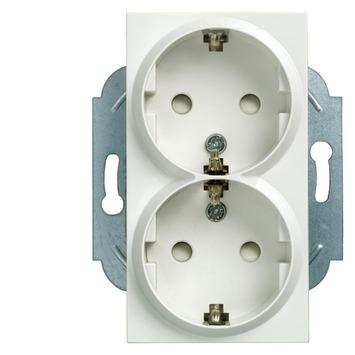 Siemens Delte-L dubbel stopcontact wit