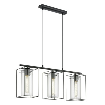EGLO hanglamp Loncino zwart 3-lichts