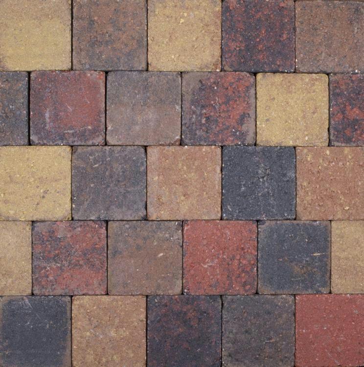 Trommelsteen Beton Bont 14x14x7 cm - 45 Stuks - 0,90 m2