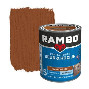 Rambo pantserbeits deur & kozijn transparant teakhout hoogglans 750 ml
