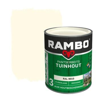 Rambo pantserbeits tuinhout dekkend RAL 9010 zijdeglans 750 ml