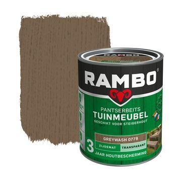 Rambo pantserbeits tuinmeubel transparant greywash zijdemat 750 ml