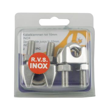 Draadklem RVS 10 mm 2 stuks