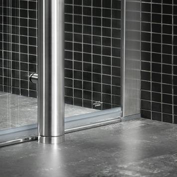Tiger Boston vloermontageset tbv deur met zijwand chroom 100x100 cm
