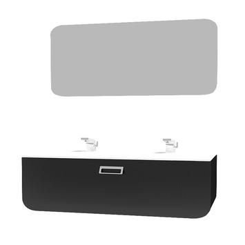Ontario 105cm zwart met spiegelpaneel