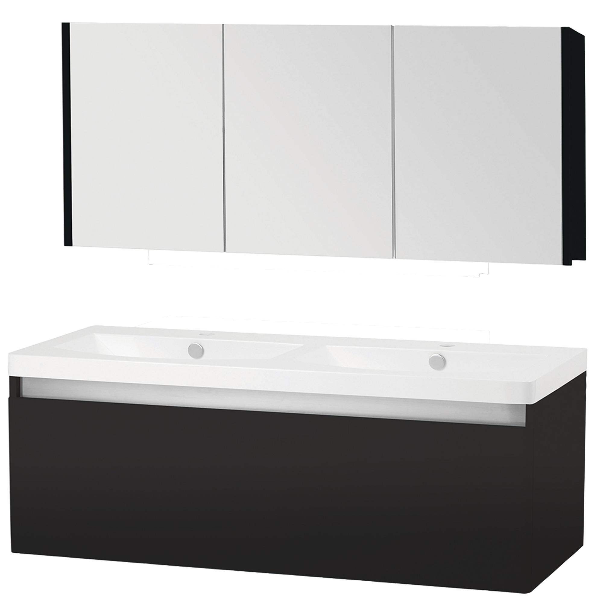 stripe badkamermeubelset hoogglans zwart 120 cm | badkamermeubelen, Badkamer