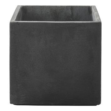 Pot Fiberclay Donkergrijs Streep Vierkant Ø26 H24 cm