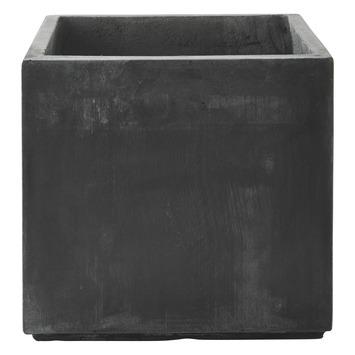 Pot Fiberclay Donkergrijs Streep Vierkant Ø33 H29 cm