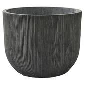 Pot Fiberclay Rond Donkergrijs streep Ø43 H33 cm