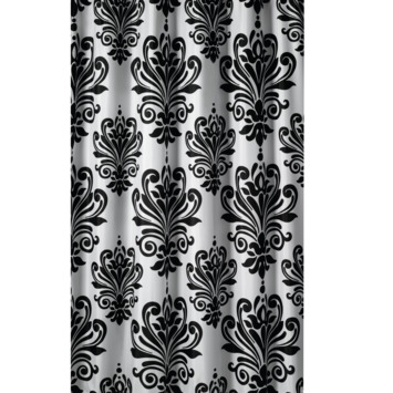 GAMMA Douchegordijn Barok Zwart/Wit 200x180 cm
