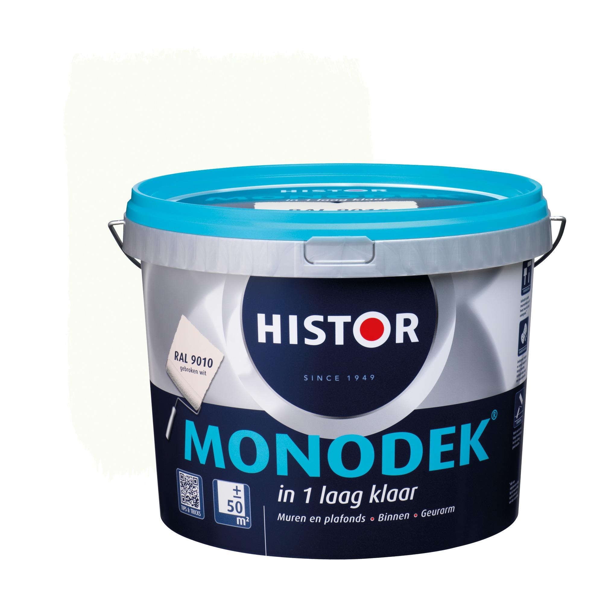 Histor Monodek muurverf mat gebroken wit 9010 5 l