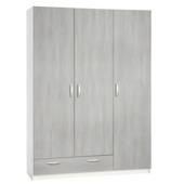 Kim garderobekast 3-deurs gelamineerd spaanplaat white wash 201x146x50 cm