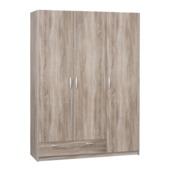 Kim garderobekast 3-deurs gelamineerd spaanplaat truffel eiken 201x146x50 cm