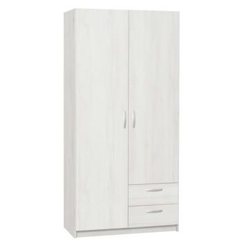 Kim Garderobekast 2 Deurs Gelamineerd Spaanplaat White Wash 201x97x50 Cm