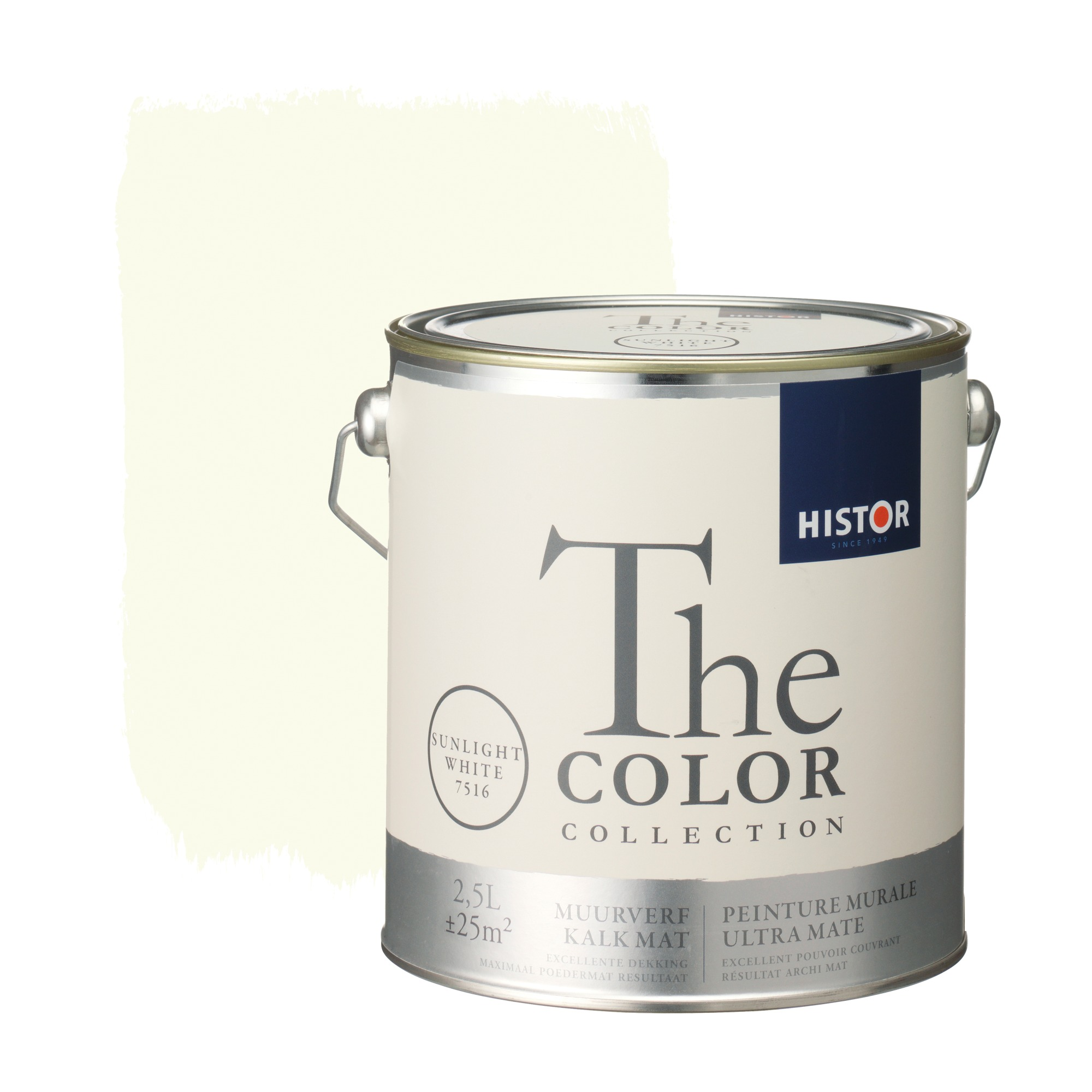 Histor the color collection muurverf kalkmat sunlight white 7516 2,5 l