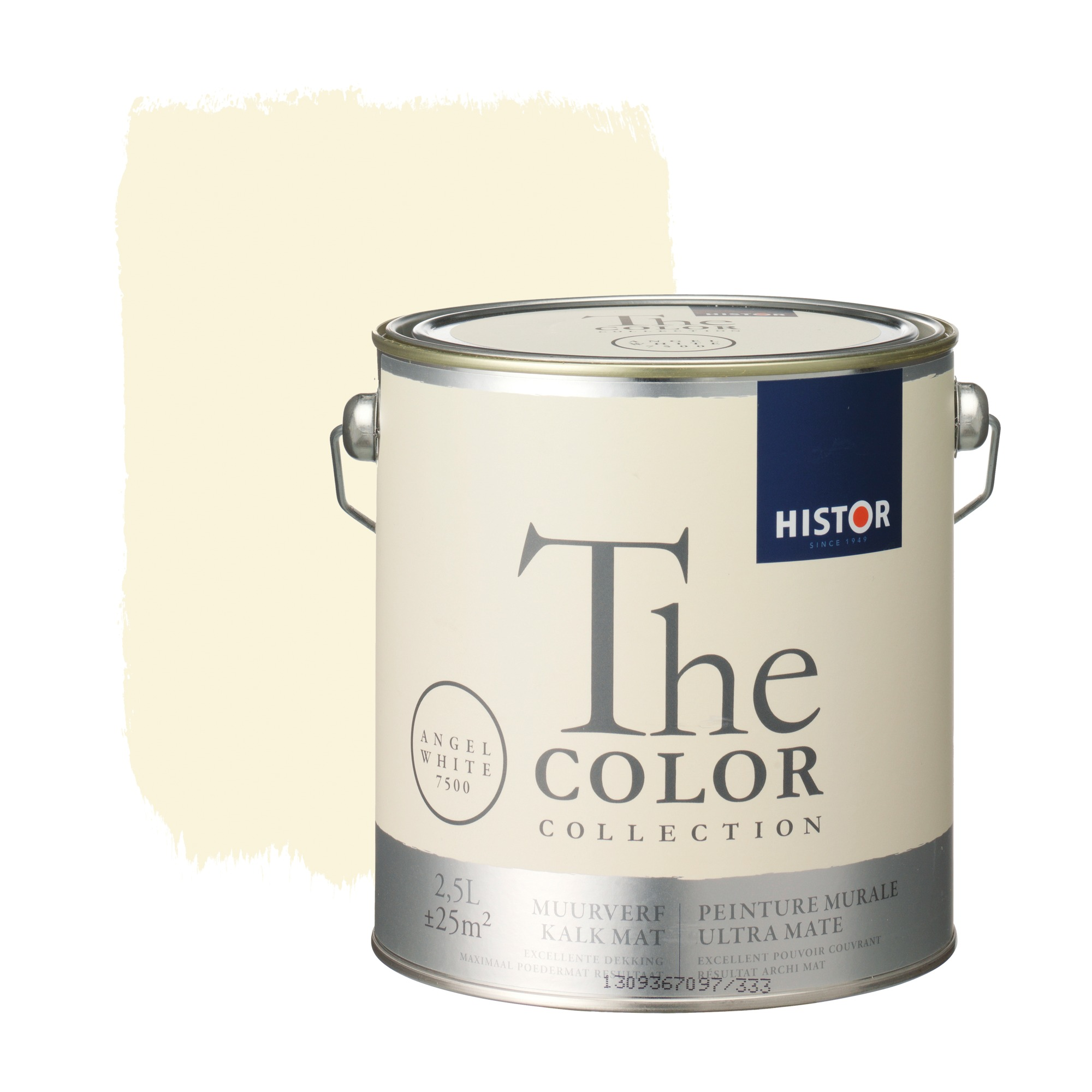 Histor the color collection muurverf kalkmat angel white 7500 2,5 l
