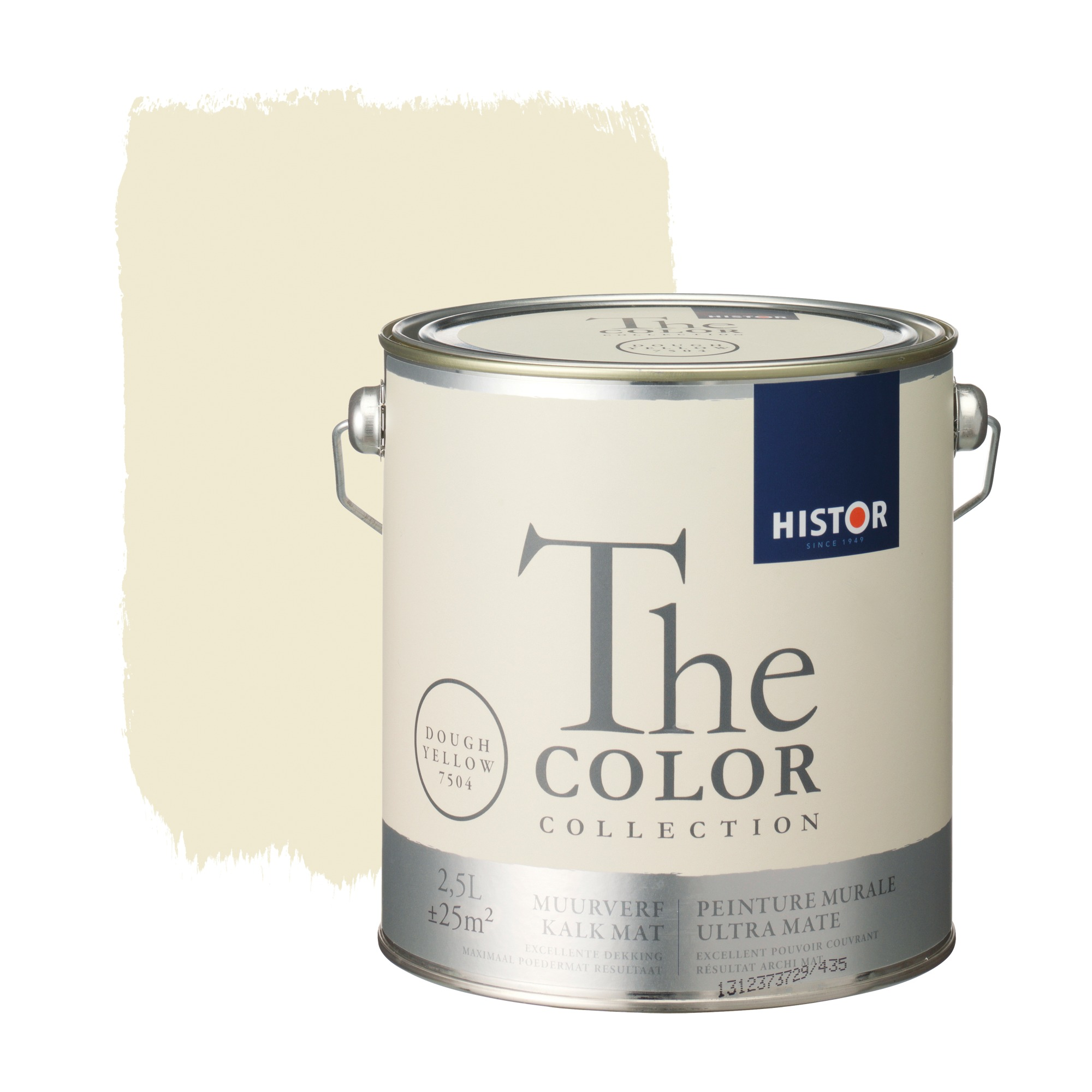 Histor the color collection muurverf kalkmat dough yellow 7504 2,5 l