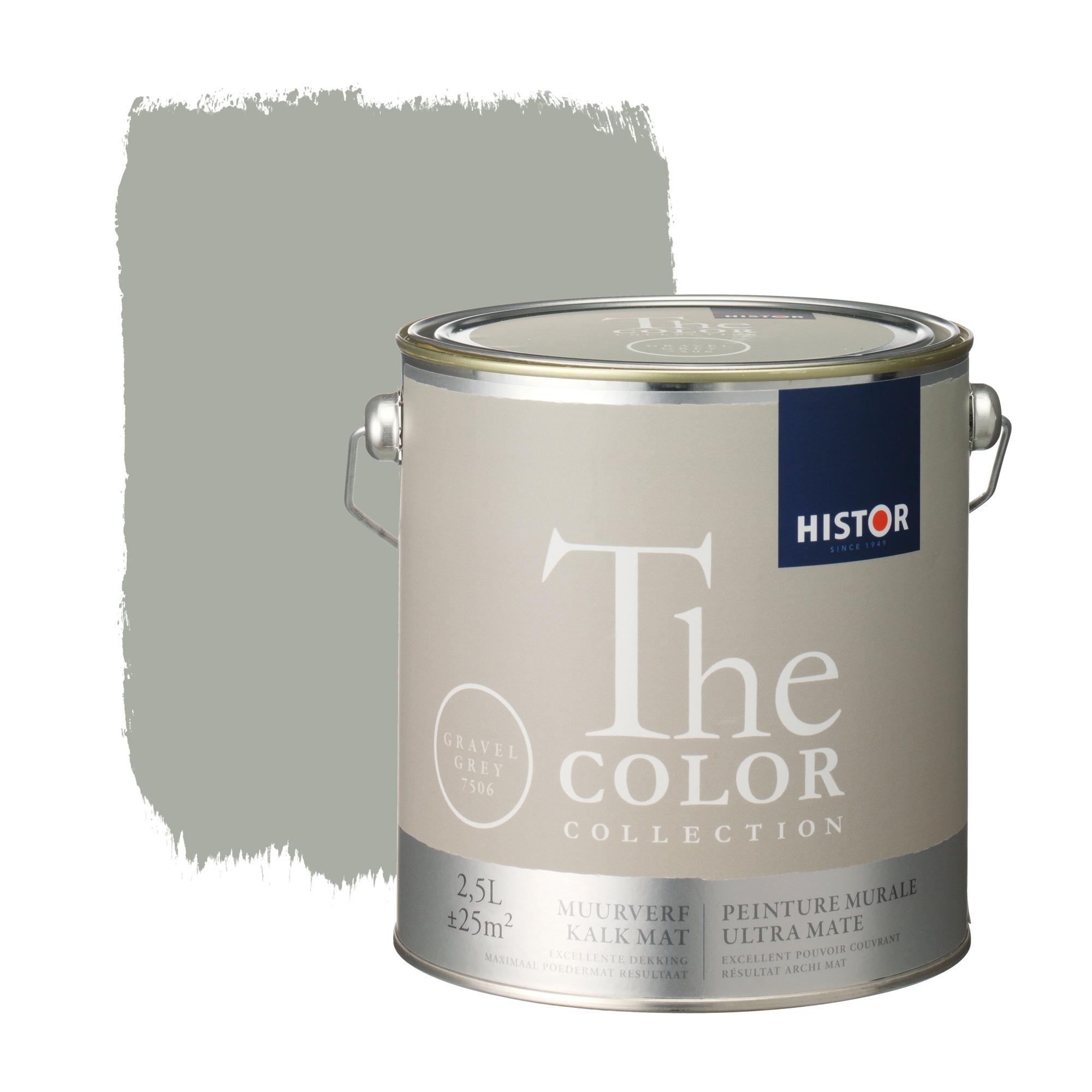 Histor the color collection muurverf kalkmat gravel grey 7506 2,5 l