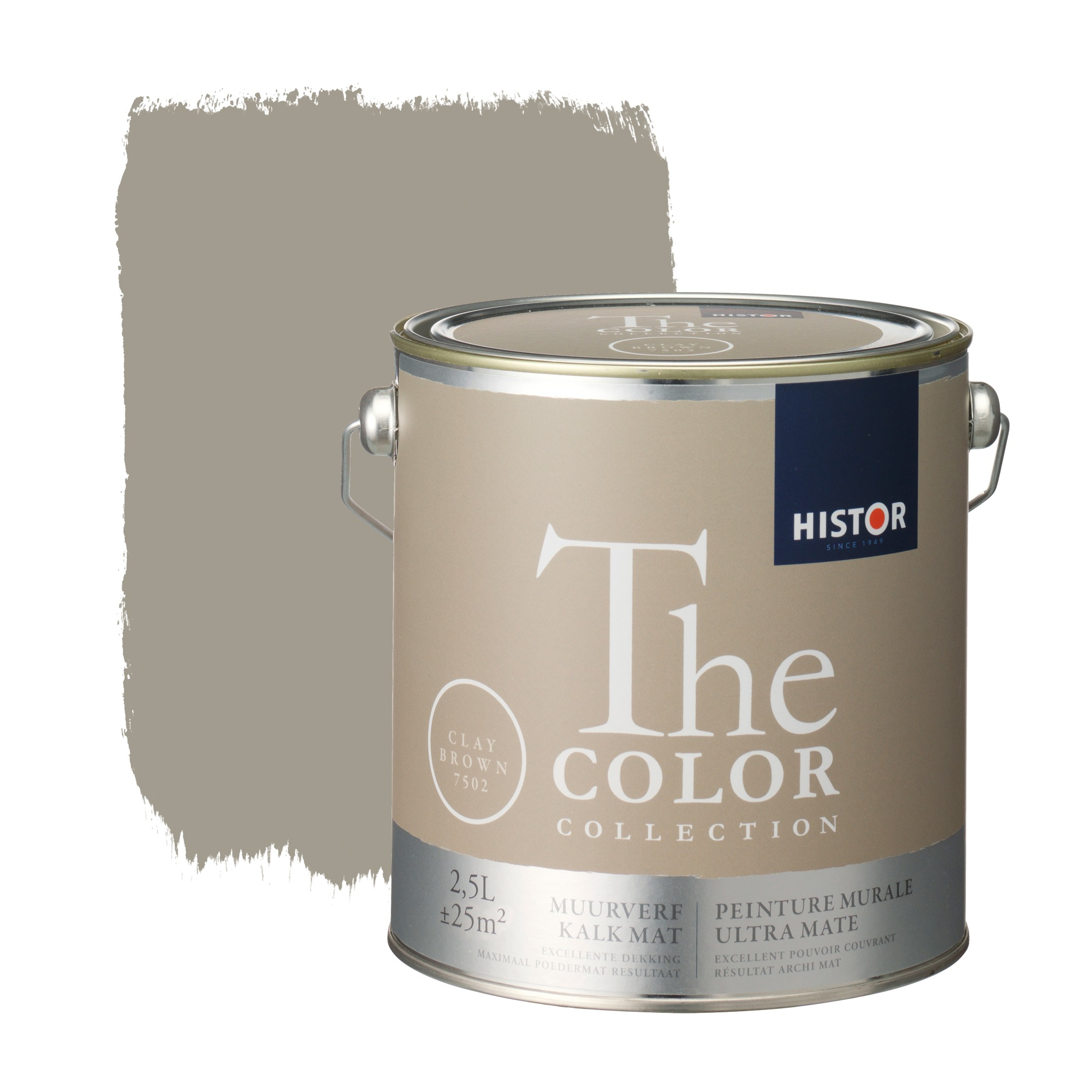 Histor the color collection muurverf kalkmat clay brown 7502 2,5 l