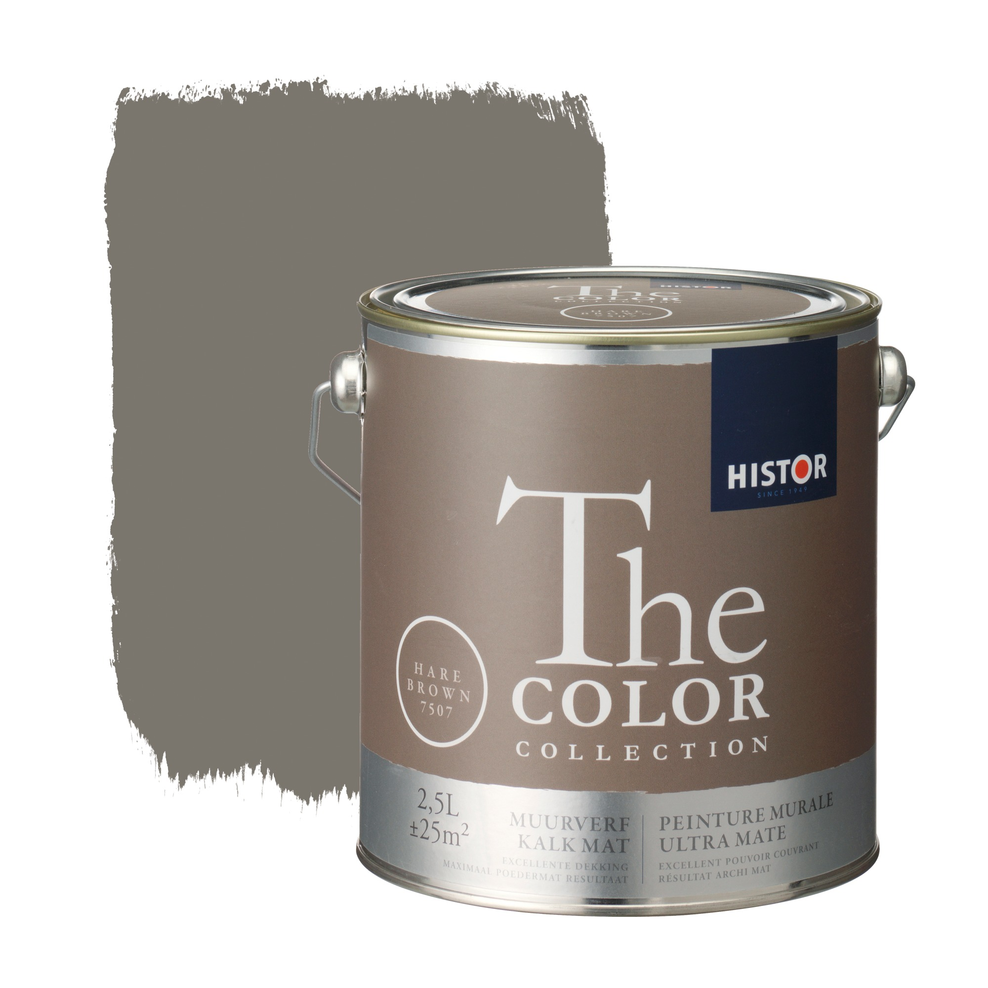 Histor the color collection muurverf kalkmat hare brown 7507 2,5 l