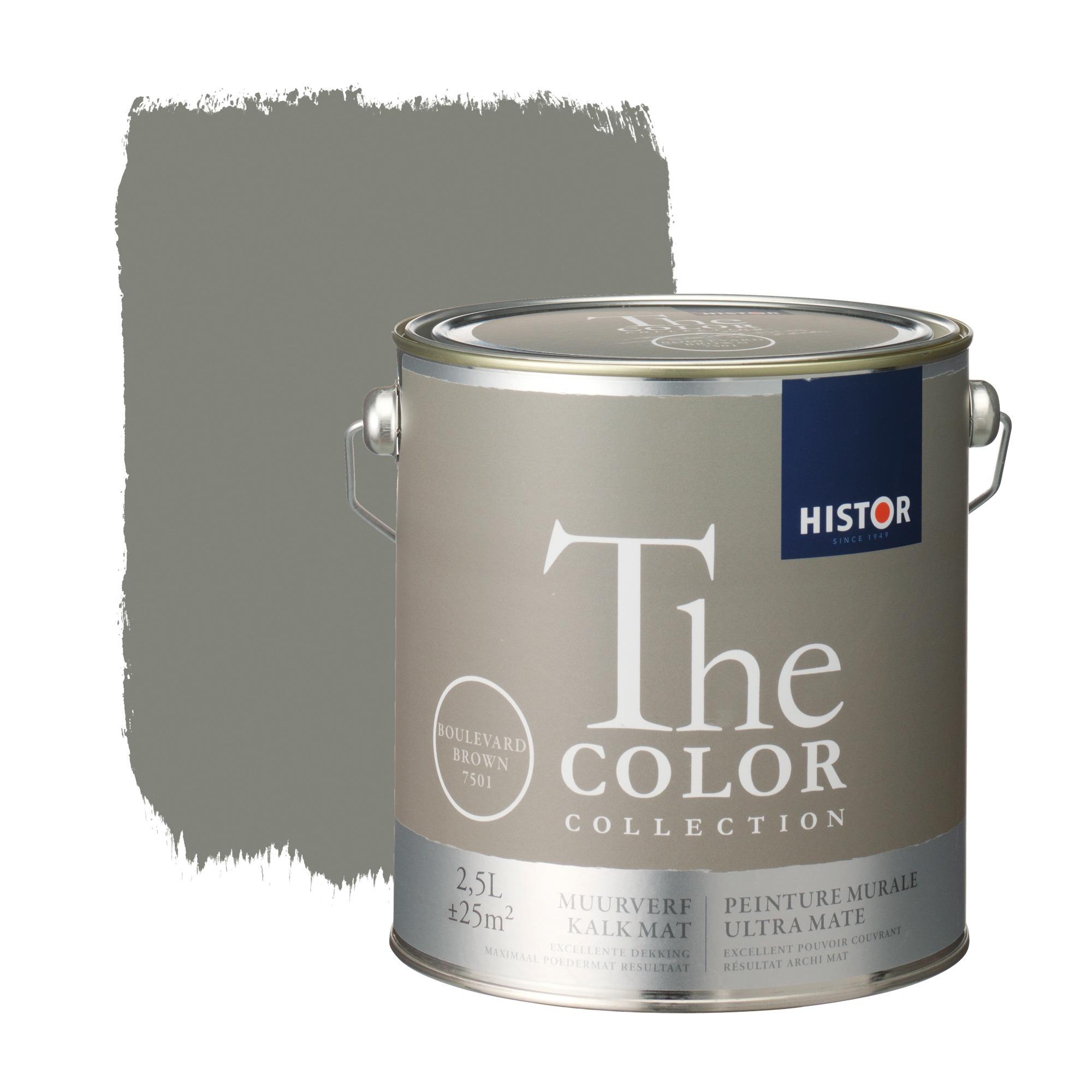 Histor the color collection muurverf kalkmat boulevard brown 7501 2,5 l