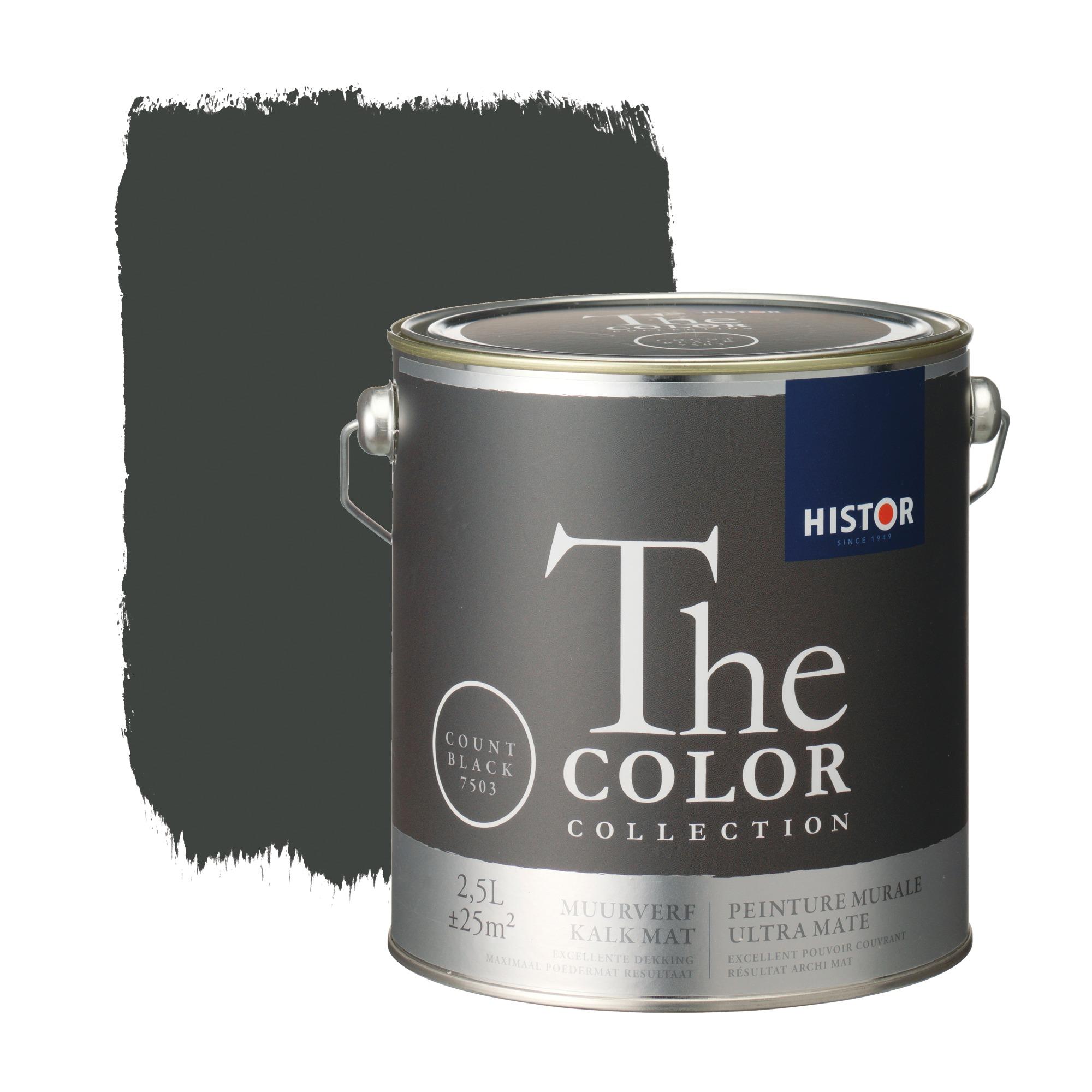 Histor the color collection muurverf kalkmat count black 7503 2,5 l
