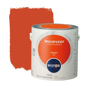 Histor Perfect Finish muurverf vermiljoen mat 2,5 liter
