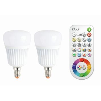 iDual 2 x E14 lampen 470 lumen incl. afstandbediening RGB