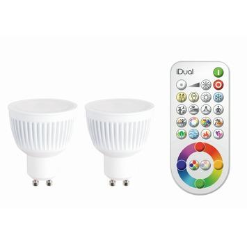 IDUAL 2 x GU10 LED lamp 345 lumen incl. afstandbediening RGB