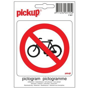 Pickup pictogram verboden voor rijwielen 10x10 cm