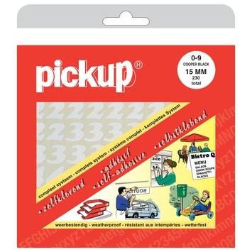 Pickup plakcijfers 0-9 wit 15 mm